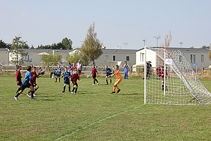 The crucial, deciding goal in the Under 11s match between Tankerton Colts and Tyler Hill